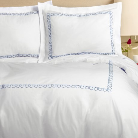 Melange Home Loop Embroidered Percale Duvet Set - Full-Queen, 300 TC