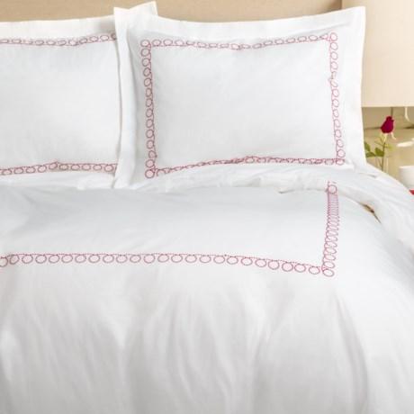 Melange Home Loop Embroidered Percale Duvet Set - Full-Queen, 300 TC