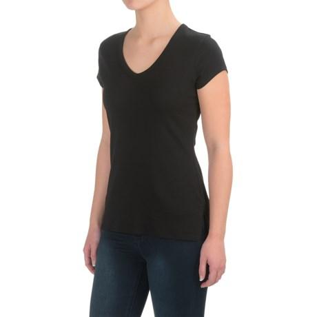Cynthia Rowley Cotton-Modal Shirt - V-Neck, Short Sleeve (For Women)
