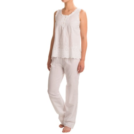Susan Bristol Embroidered Cotton Pajamas - Sleeveless (For Women)