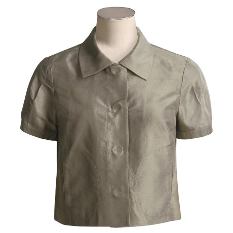 Magaschoni Collection Silk Dupioni Jacket - Short Sleeve (For Women)