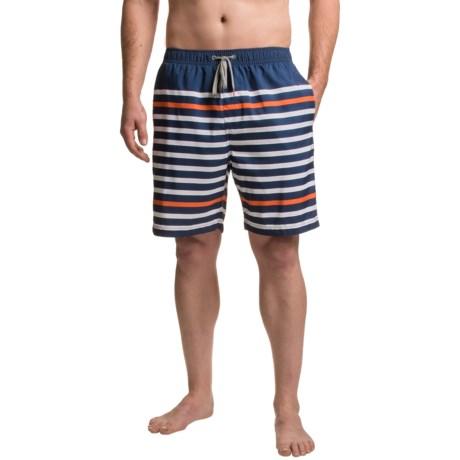 Boston Traders Printed Stripe Volley Swim Trunks - UPF 50+ (For Men)