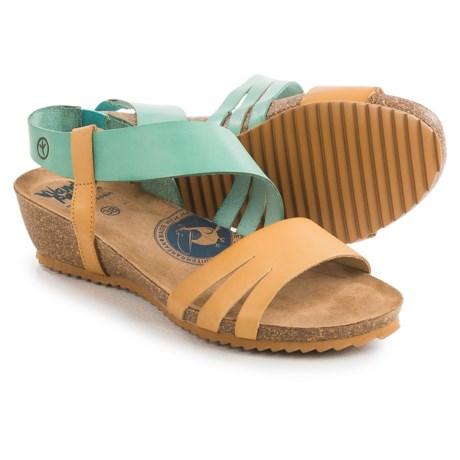 Wanda Panda Asymmetric Strap Sandals - Leather, Low Wedge Heel (For Women)