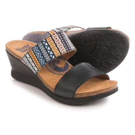 Wanda Panda Double-Strap Sandals - Leather, Wedge Heel (For Women)