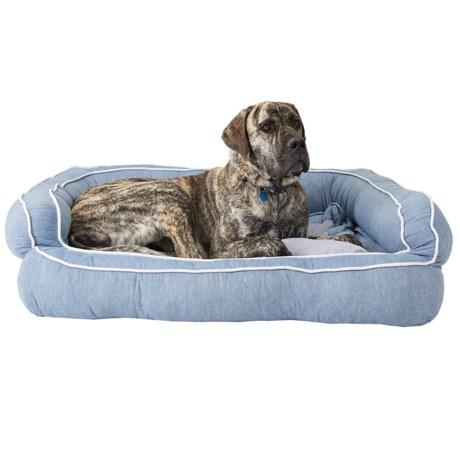 "Cynthia Rowley Allover Chambray Bolster Dog Bed - 2XL, 43x29x12"""