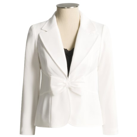 Teri Jon Crepe Jacket with Bow at Waist - Pick-stitching (For Women)