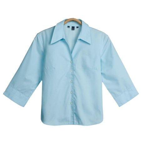 Cotton-Poly Stretch Shirt - Spread Collar, 3/4 Sleeve  (For Women)