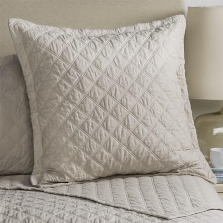 Fleur De Lis Blue Diamond Quilted Pillow Sham - Euro
