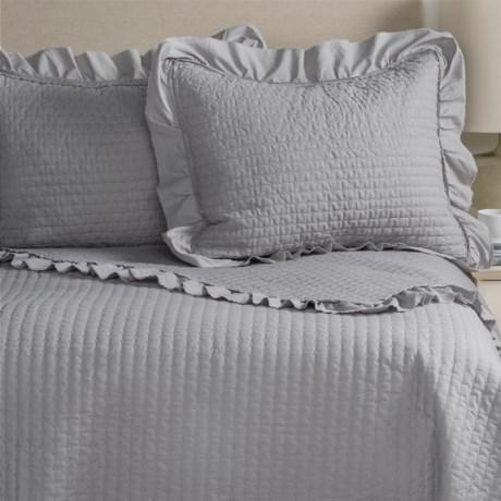 Fleur De Lis Blue Fleur de Lis Blue Circle Dot Ruffled Quilted Pillow Shams - King, Set of 2