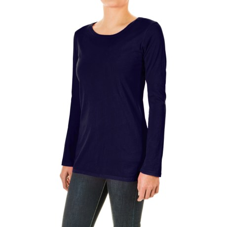 Specially made Pima Cotton Essential Crew Shirt - Long Sleeve (For Women)