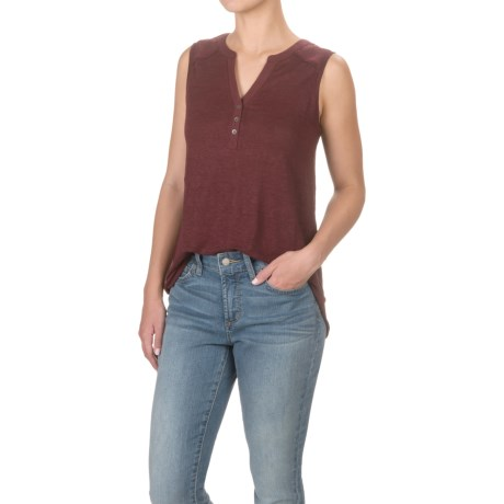 Antibes Blanc Mandarin Collar Henley Shirt - Sleeveless (For Women)