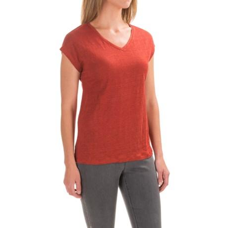 Antibes Blanc V-Neck Knit Shirt - Linen, Short Sleeve (For Women)