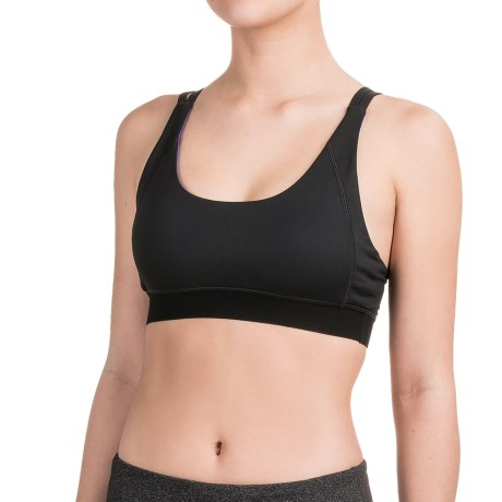 Kyodan Elastic-Back Sports Bra - Medium Impact, Removable Cups (For Women)