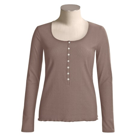 Calida Excelsior Henley Shirt - Stretch Cotton, Long Sleeve (For Women)