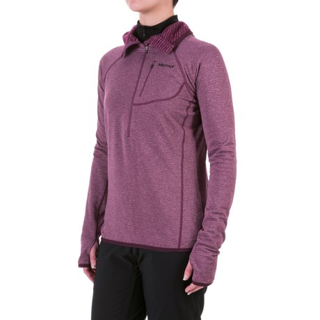 Marmot Powertherm Polartec® Power Wool® Hooded Shirt - Zip Neck, Long Sleeve (For Women)