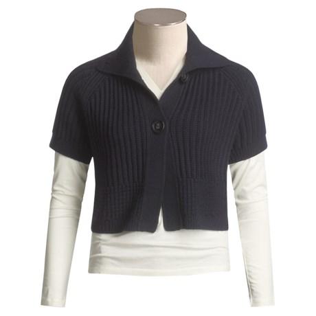 Lafayette 148 New York Deluxe Wool Cardigan Sweater - Crop, Short Sleeve (For Women)