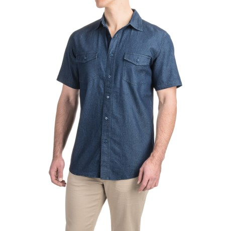 Specially made Denim Button-Up Shirt - Short Sleeve (For Men)