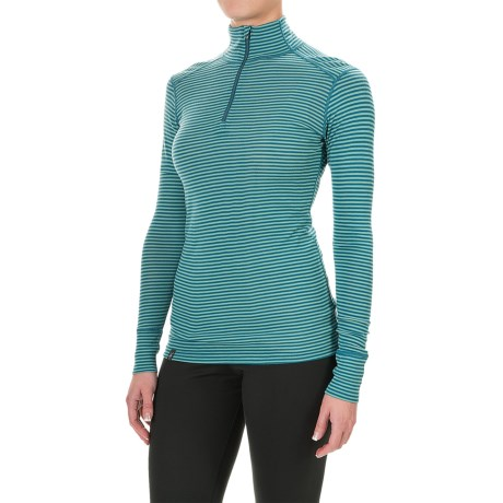 Ibex Woolies 1 Lightweight Striped Base Layer Turtleneck - Merino Wool, Zip Neck, Long Sleeve (For Women)