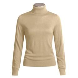 August Silk Warm Hand Turtleneck - Long Sleeve (For Women)