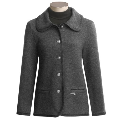 Stapf of Tyrolean Alps Stapf Boiled Wool Jacket - Shetland, Round Collar (For Women)