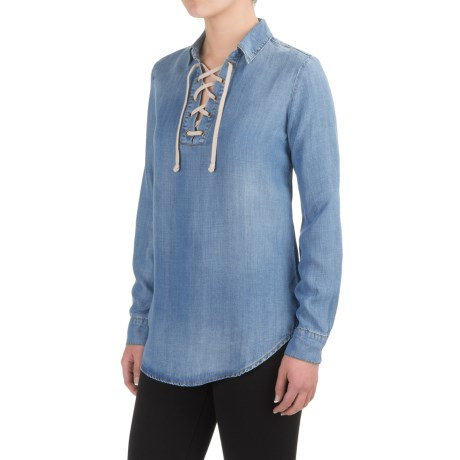 Workshop Republic Clothing Denim Lace-Up Shirt - TENCEL®, Long Sleeve (For Women)