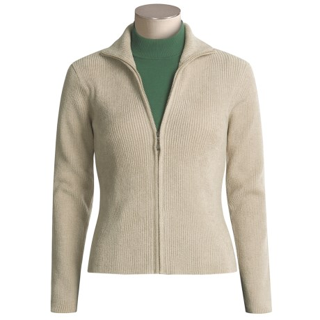 SoyBu Ribbed Cardigan Sweater - Zip Front (For Women)