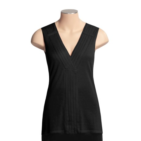 Kinross Cashmere Kinross Pleated Cotton Tunic Shirt - Sleeveless, Knit (For Women)