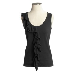 Kinross Cashmere Kinross Cascade Ruffle Knit Shirt - Stretch Cotton, Sleeveless (For Women)