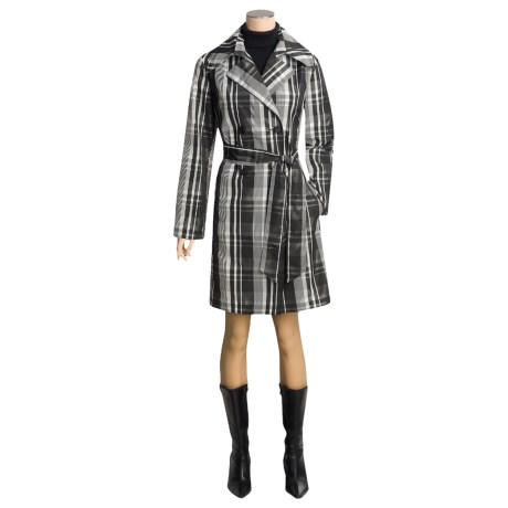Katherine Barclay Plaid Trench Coat (For Women)
