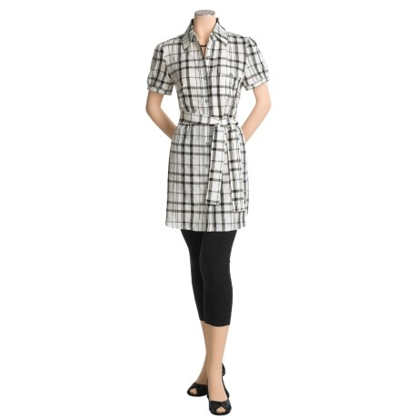 Katherine Barclay Plaid Tunic Shirt - Linen-Rich, Short Sleeve (For Women)