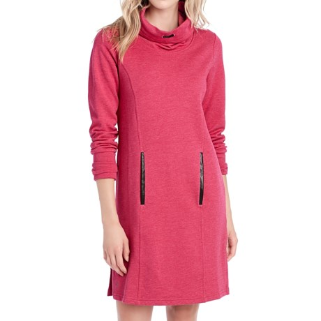 Lole Gray Funnel Neck Fleece Dress - Long Sleeve (For Women)