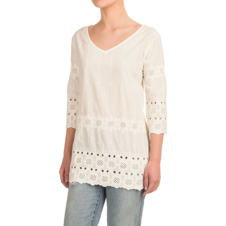 dylan Botanical Blooms Shirt - V-Neck, 3/4 Sleeve (For Women)
