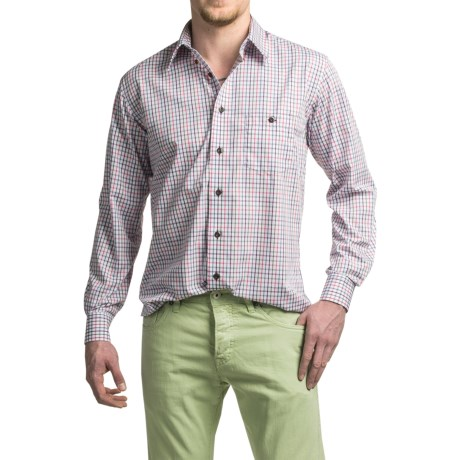 Viyella No-Iron Mini Plaid Sport Short - Cotton, Long Sleeve (For Men)