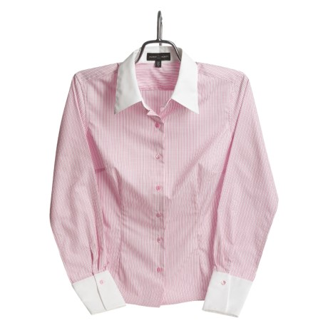 Audrey Talbott White Collar Stripe Shirt - Cotton, Long Sleeve (For Women)