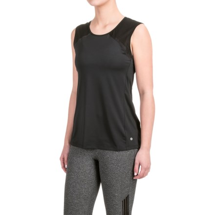 Layer 8 Stretch T-Shirt - Sleeveless (For Women) in Arctic White-Soft Silver Combo/Light Gray Heather - Closeouts