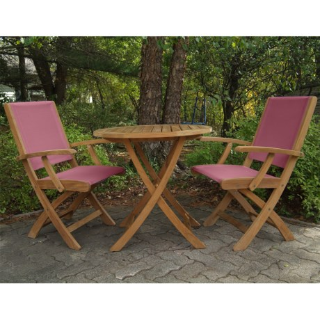 Three Birds Casual Riviera Folding Armchairs and Cambridge Table Bistro Set - 3-Piece