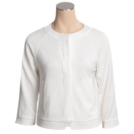 Joan Vass Knit Crop Jacket - Hidden Placket (For Women)