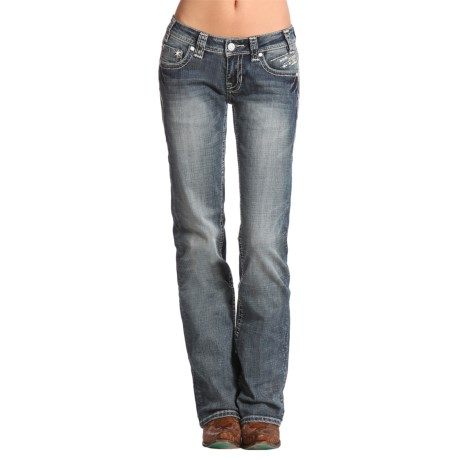 Rock & Roll Cowgirl Horizontal Embroidery Jeans - Bootcut (For Women)