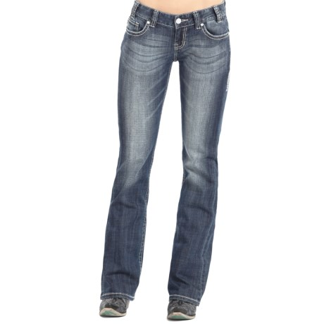 Rock & Roll Cowgirl Silver and Crystal Jeans - Low Rise, Bootcut (For Women)