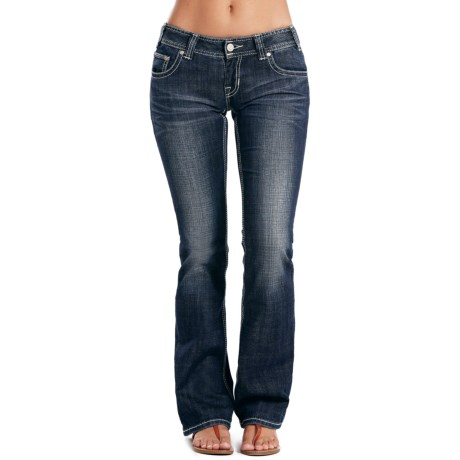 Rock & Roll Cowgirl Whiskered & Sanded Jeans - Low Rise, Bootcut (For Women)