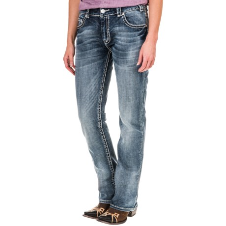 Rock & Roll Cowgirl Abstract Stitch Jeans - Boyfriend Fit, Bootcut (For Women)