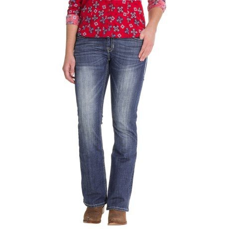 Rock & Roll Cowgirl Aztec Embroidery Jeans - Mid Rise, Bootcut (For Women)