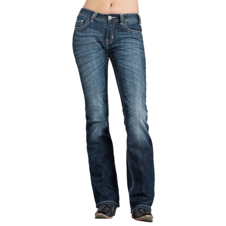 Rock & Roll Cowgirl Turquoise Rhinestone Jeans - Mid Rise, Bootcut (For Women)