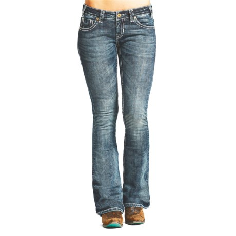 Rock & Roll Cowgirl Rival Crystal Zigzag Embroidery Jeans - Low Rise, Bootcut (For Women)