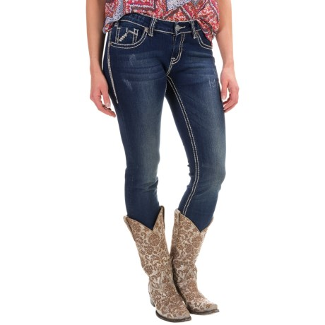 Rock & Roll Cowgirl Chevron Embroidery Skinny Jeans - Low Rise (For Women)