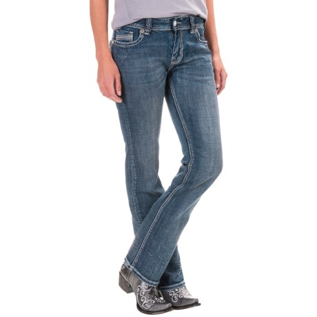 Rock & Roll Cowgirl Ivory Multi-Stitch Jeans - Mid Rise, Bootcut (For Women)