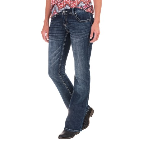 Rock & Roll Cowgirl Silver Embroidery Jeans - Low Rise, Bootcut (For Women)