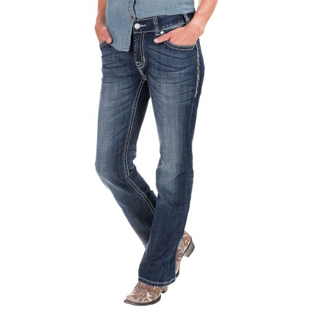 Rock & Roll Cowgirl Abstract Leather Pocket Jeans - Mid Rise, Bootcut (For Women)