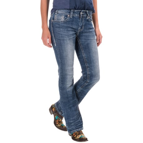 Rock & Roll Cowgirl Feather Stitch Jeans - Mid Rise, Bootcut (For Women)