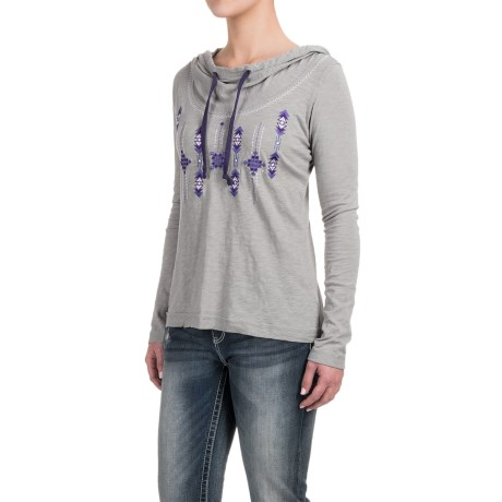 Panhandle Embroidered Hooded Shirt - Long Sleeve (For Women)